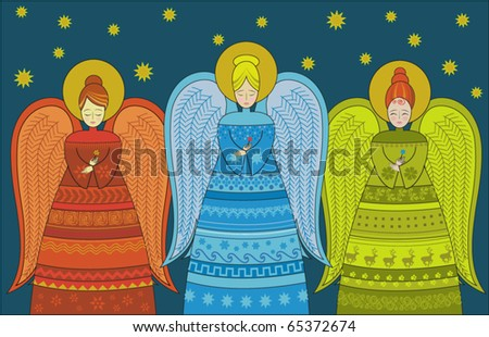 Three angels greeting card - stock vector