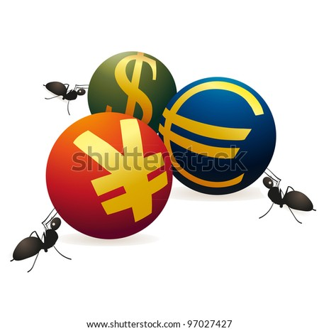 Three ants with three symbols of Yuan, Euro and US Dollar - stock vector