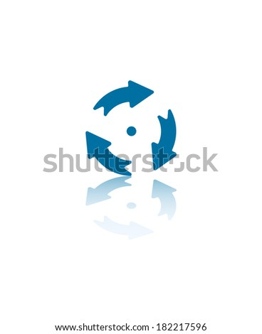 Three Arrows Circling a Central Dot Illustration - stock vector