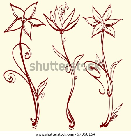 Three artistic flowers - stock vector