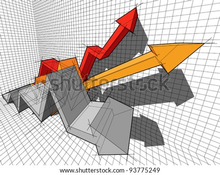 three ascending/rising arrows in business diagram - stock vector