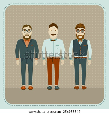 Three attractive stylish and fashionable guys. - stock vector
