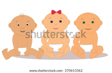 Three baby of different nationalities - stock vector