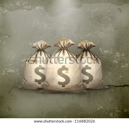Three bags of money, old-style vector - stock vector