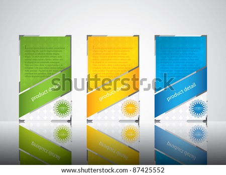 Three banner style web element with text - stock vector