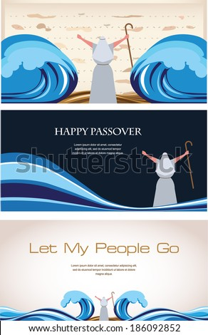 Three Banners of Passover Jewish Holiday (2) - stock vector