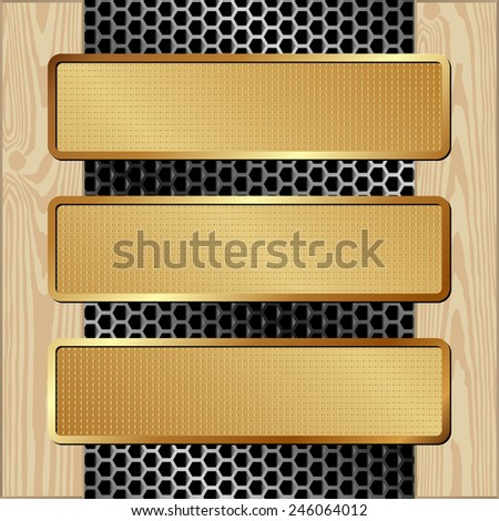 three banners on metal and wooden background - stock vector