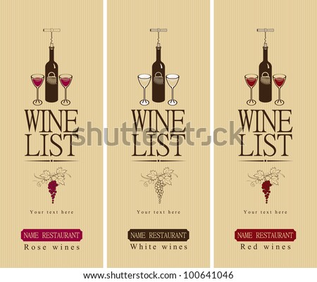 three banners with different wine - stock vector