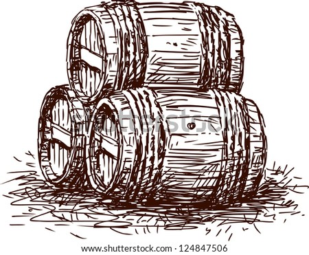 Three  barrels - stock vector