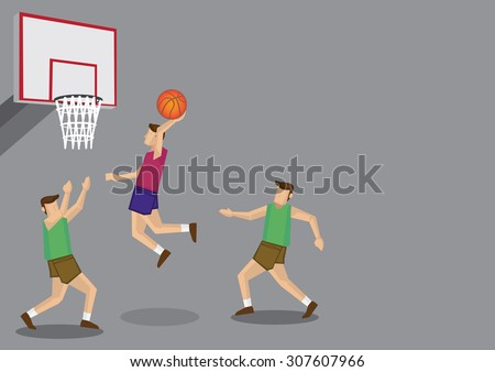 Three basketball players with one jumping high for a slam dunk shot. Vector cartoon illustration isolated on grey background. - stock vector