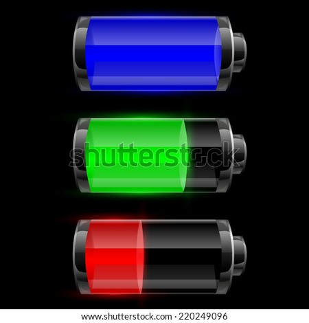 Three Battery charge status. Vector illustration  - stock vector