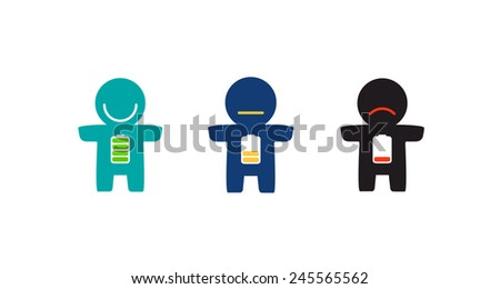 Three battery - full charge, half and low battery. Cheerful, calm and sad little man. Vector EPS 8 - stock vector