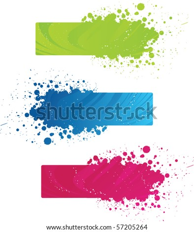 Three beautiful grunge banners with wave design - stock vector