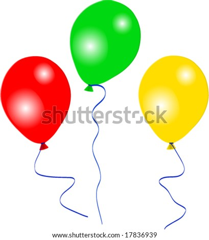 Three beautiful party balloons vector