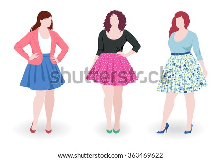 Three beautiful plus size fashion women wearing skirt