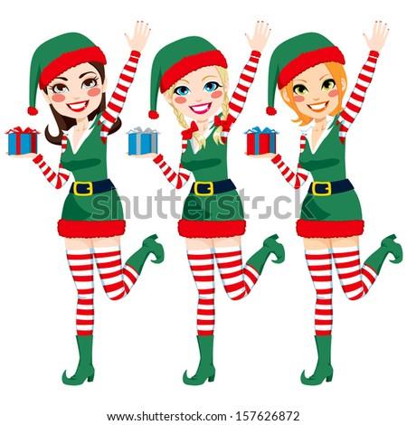Three beautiful Santa Claus Elf helpers holding Christmas presents and waving hand - stock vector
