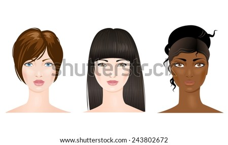 Three beautiful woman faces of different nationalities. Vector - stock vector