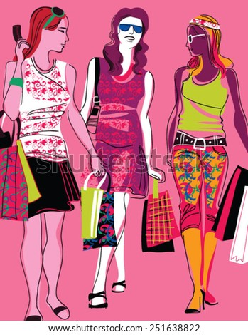 Three Beautiful Young Women with Shopping Bags - stock vector