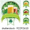 Three beer mugs on clover background with copy space under them. 3 additional versions are included on the right. No transparency used. Basic (linear) gradients. - stock vector