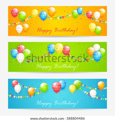 Three Birthday cards with multicolored balloons, confetti and holiday pennants, illustration.