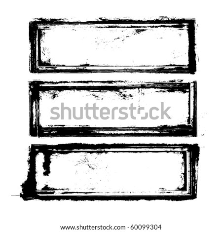 three black frames in a grunge style - stock vector