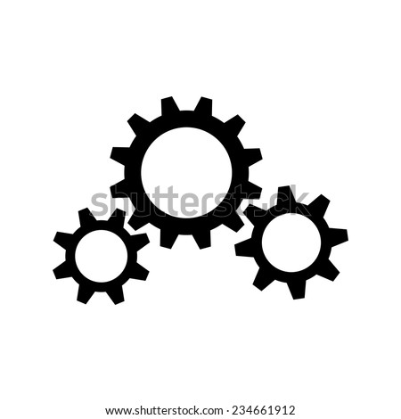 Three black gear wheels on white background - stock vector