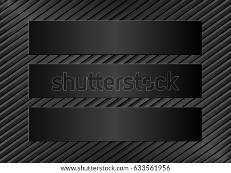 three black plaques on black background