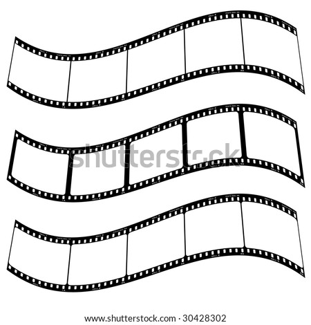 Three blank film strips with room to addd your own copy twisted - stock vector