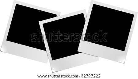 Three blank photo frames isolated on white background - stock vector