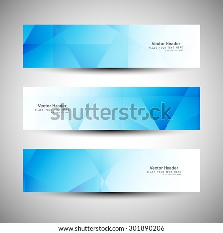 Three blue business abstract banner headers set vector - stock vector