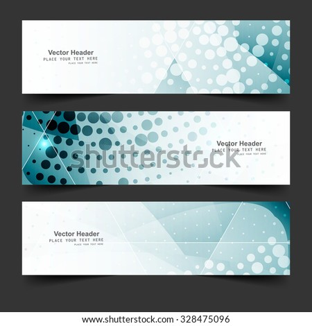 Three blue business abstract banners and headers set vector - stock vector