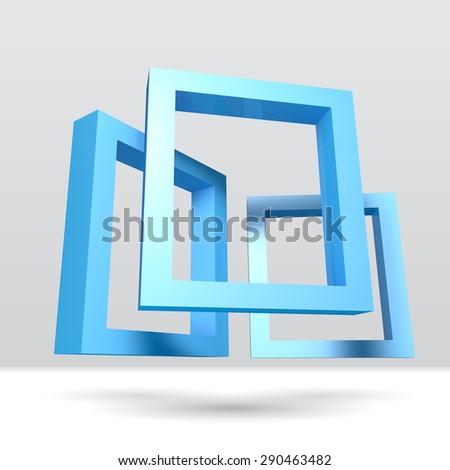 Three blue rectangular 3D frames for your presentation - stock vector