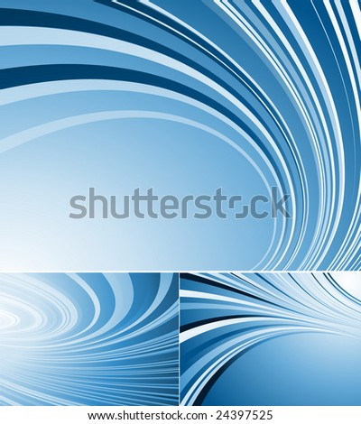 three blue vector backgrounds with curved lines