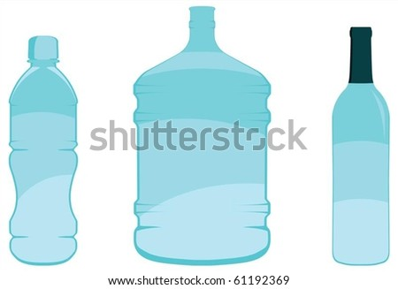 Three bottles - small water, large water and wine bottle. Editable vector file.