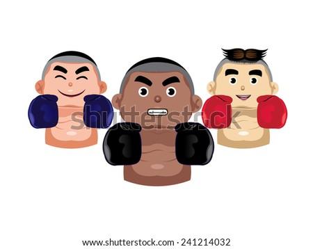 Three boxer icons - stock vector