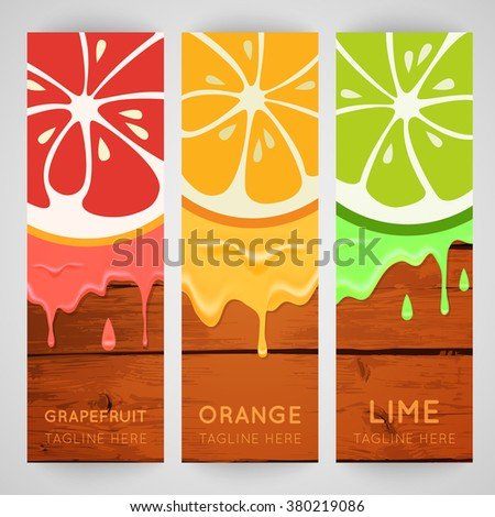 banner with stylized citrus fruit and splashes. Grapefruit, lime ...