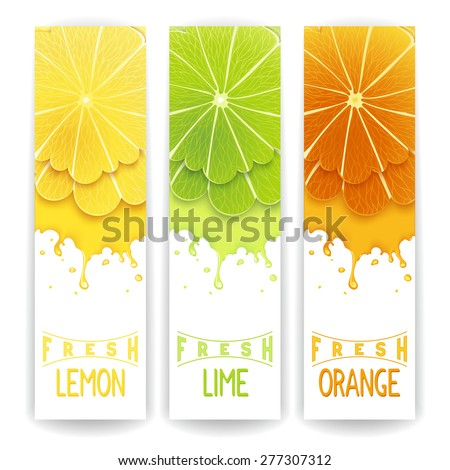 Three bright banner with stylized citrus fruit and splashes. Lemon, lime and orange fresh juice - stock vector