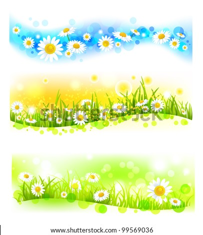 Three bright flower banners - stock vector