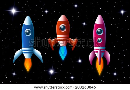 Three brightly colored vector rockets in outer space with turbo boost and flames as they speed through the dark starry sky  set of three different spaceships for kids illustrations - stock vector