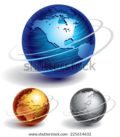 Three brushed metal globes. Eps8. CMYK. Organized by layers. Global colors. Gradients used. - stock vector