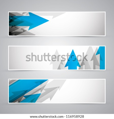 Three business banners of arrows vector eps10