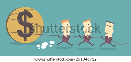 Three Business men pull dollar icon.vector file illustration eps10. be in unity concept - stock vector