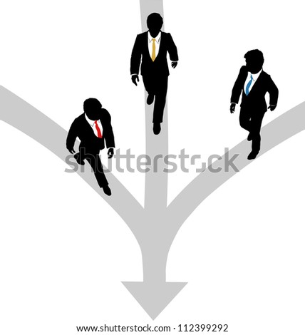 Three business people walk paths to join together at one - stock vector