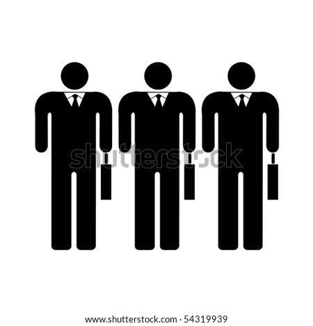 Three businessmans with cases - stock vector