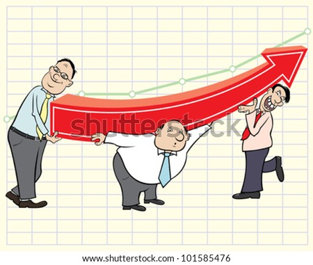 Three businessmen and arrow graph - stock vector