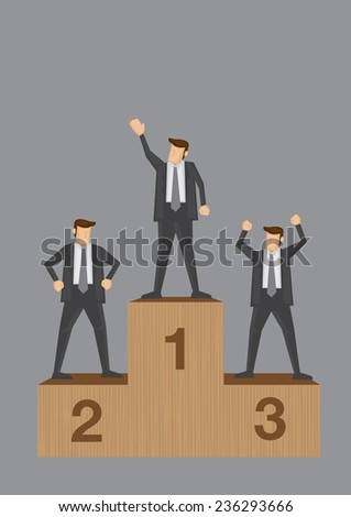 Three businessmen standing on sports competition winner platform isolated on grey background. Conceptual vector illustration of business competition and competitors.  - stock vector