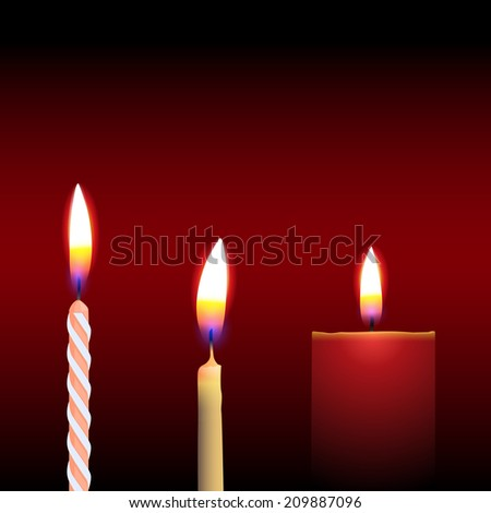 Three Candle, Isolated On Black Background