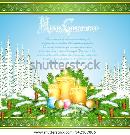Three candles stand on snowy fir tree branches. Christmas glossy element on forest landscape background - stock vector