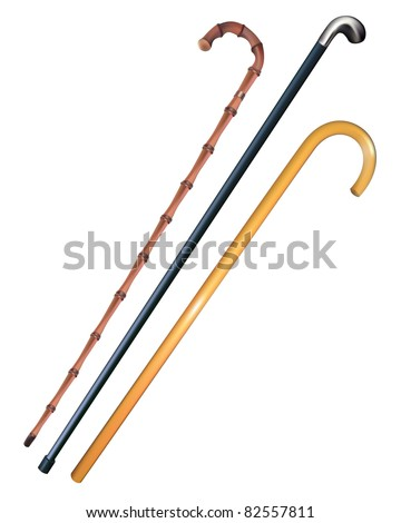 three canes to walk on a white background - stock vector