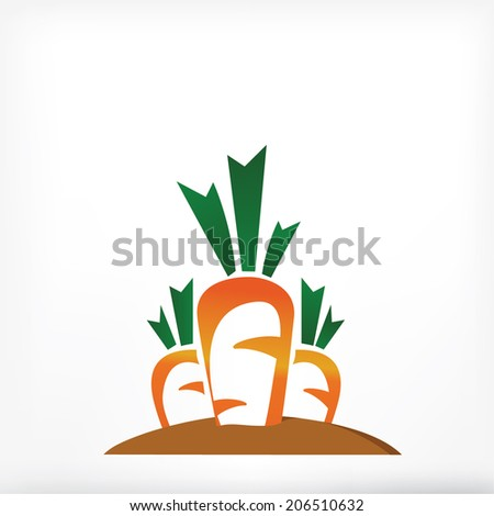 three carrots in ground, sign vegetable - stock vector